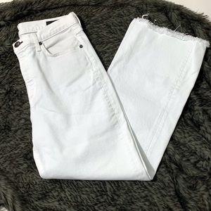 RAG & BONE White Jeans Fray Hem 28x26 Cropped.